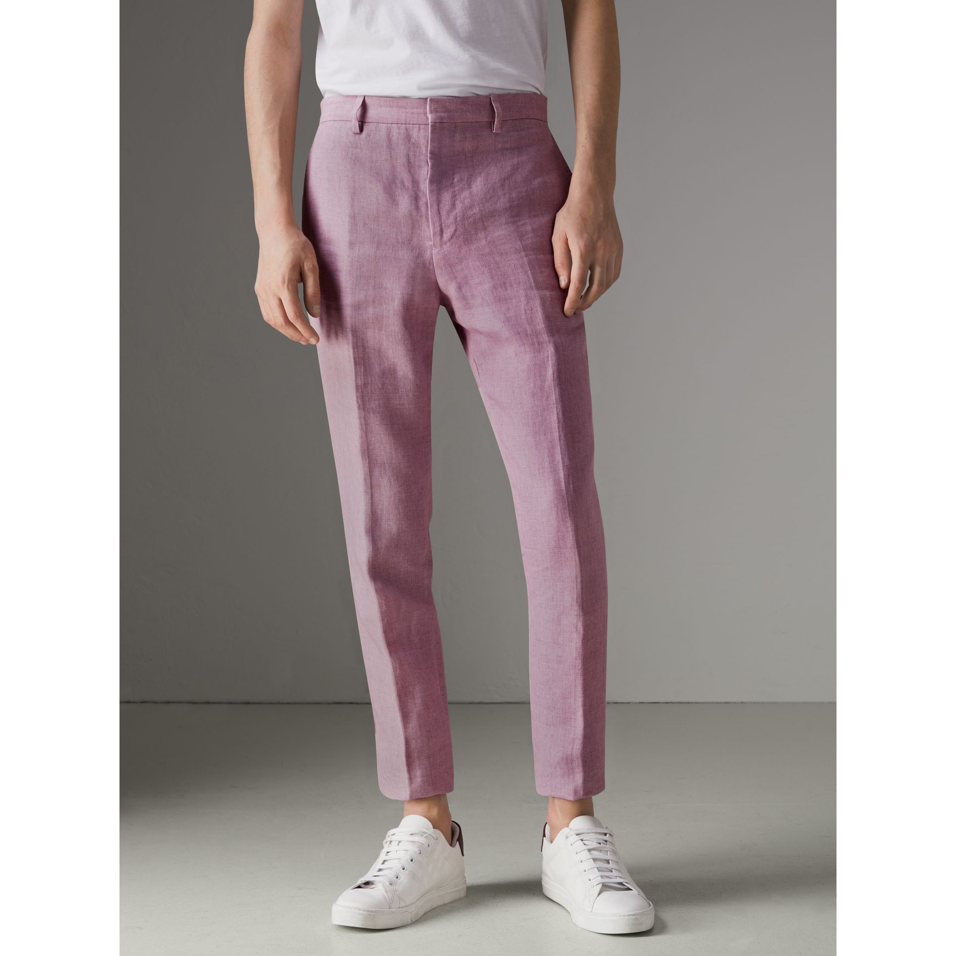 Soho Fit Linen Trousers in Pink Heather - Men | Burberry - gallery image 4