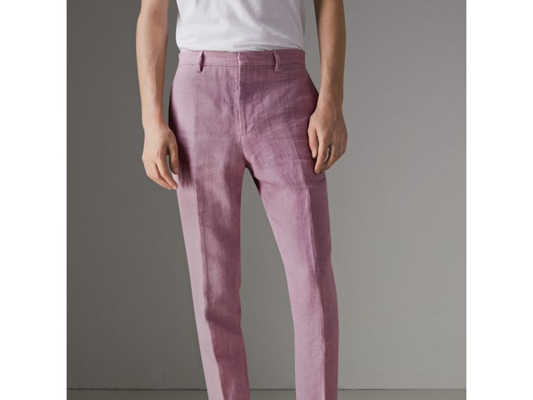 Soho Fit Linen Trousers in Pink Heather - Men | Burberry - cell image 4