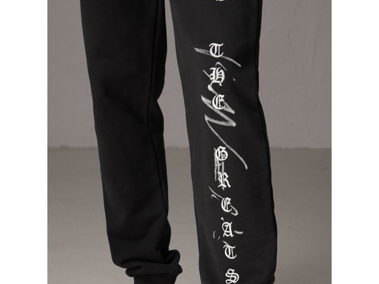 Burberry x Kris Wu Graphic Motif Sweatpants in Black - Men | Burberry Hong Kong - cell image 1