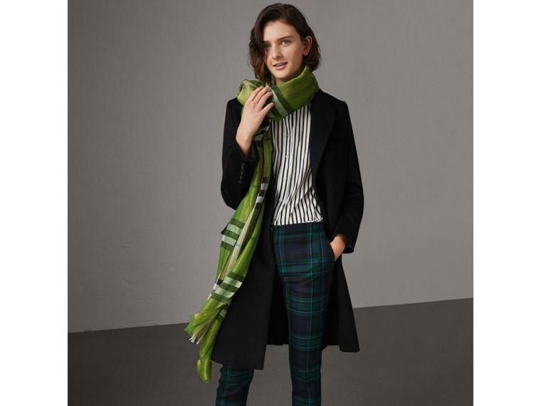 Metallic Check Silk and Wool Scarf in Bright Emerald | Burberry - cell image 2