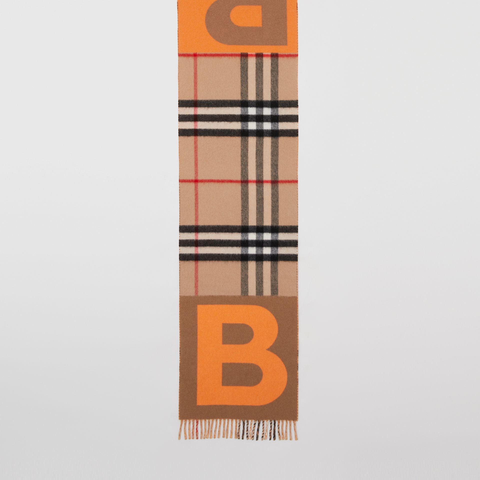 Check and B Motif Wool Cashmere Scarf in Orange | Burberry - gallery image 3