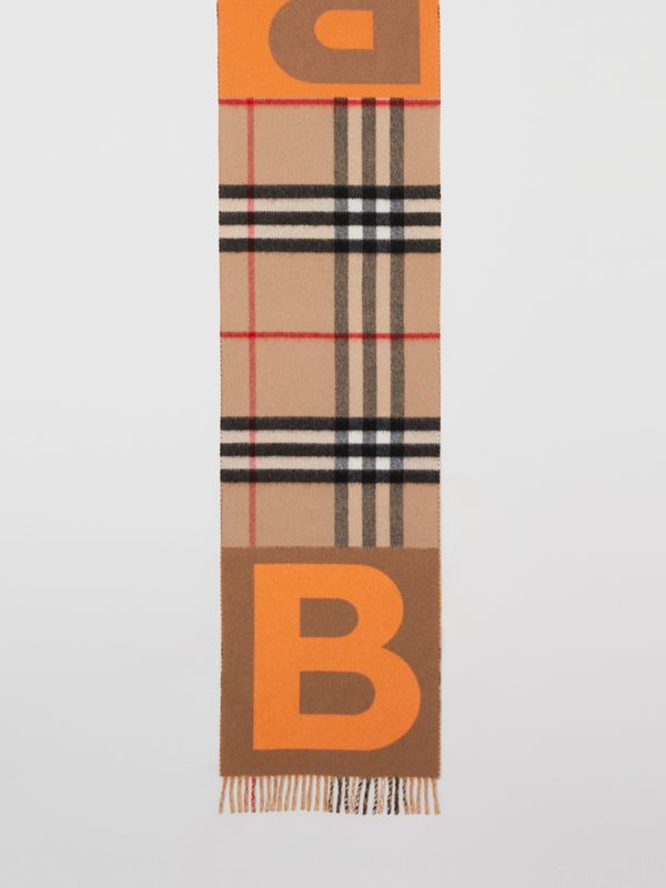 Check and B Motif Wool Cashmere Scarf in Orange | Burberry - cell image 3