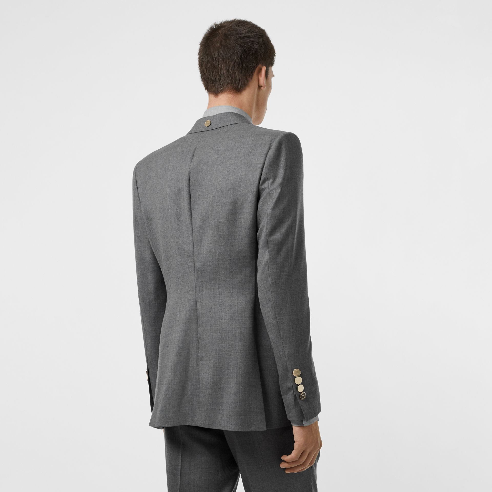 English Fit Metal Button Wool Tailored Jacket in Light Grey | Burberry - gallery image 2