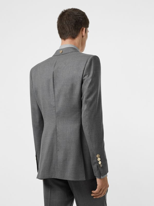 English Fit Metal Button Wool Tailored Jacket in Light Grey | Burberry - cell image 2