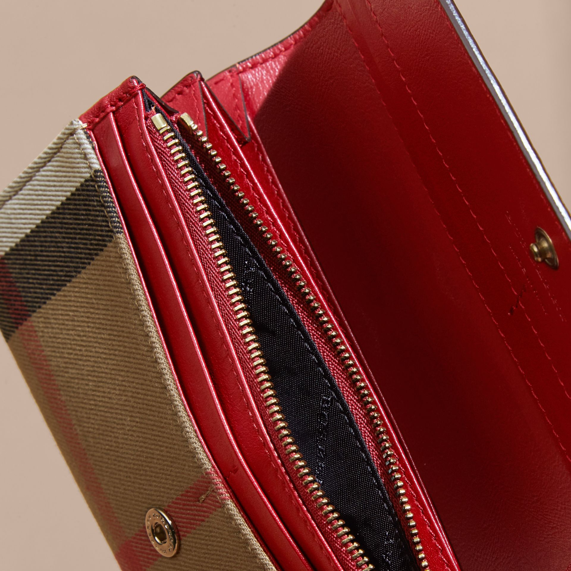 House Check And Leather Continental Wallet in Military Red - gallery image 4