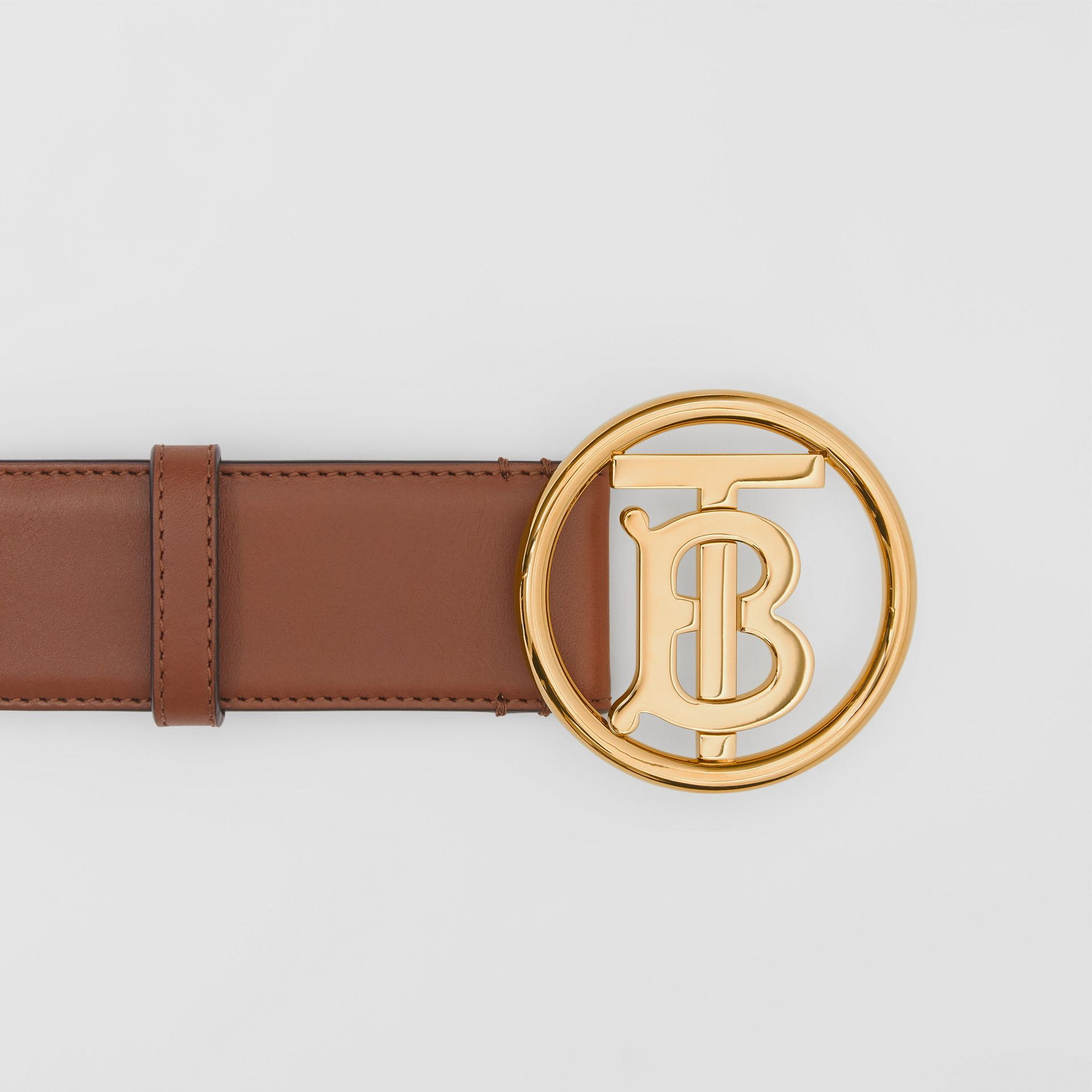 Monogram Motif Leather Belt in Tan/antique Dark Brass - Women | Burberry United Kingdom - gallery image 1