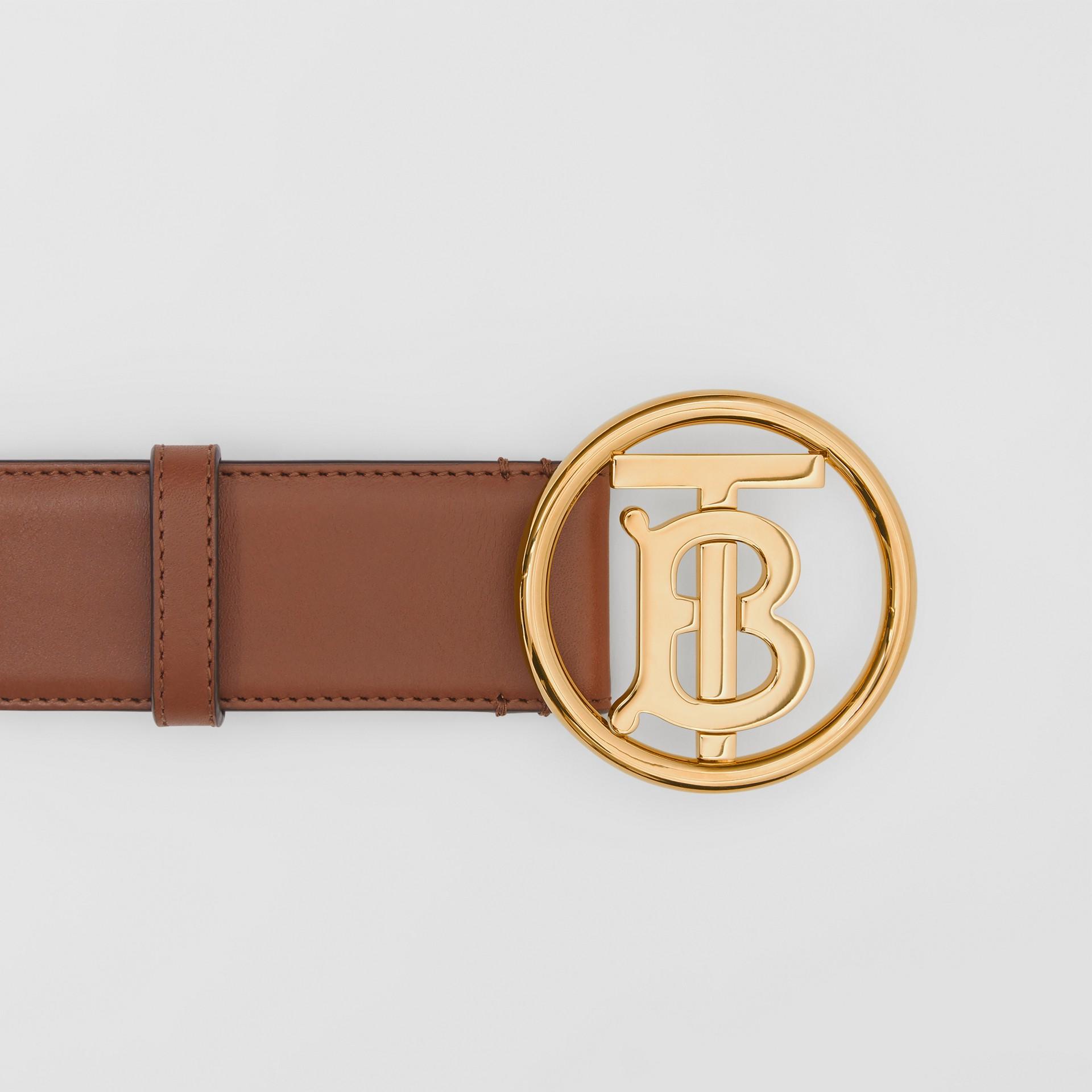 Monogram Motif Leather Belt in Tan/antique Dark Brass - Women | Burberry Canada - gallery image 1