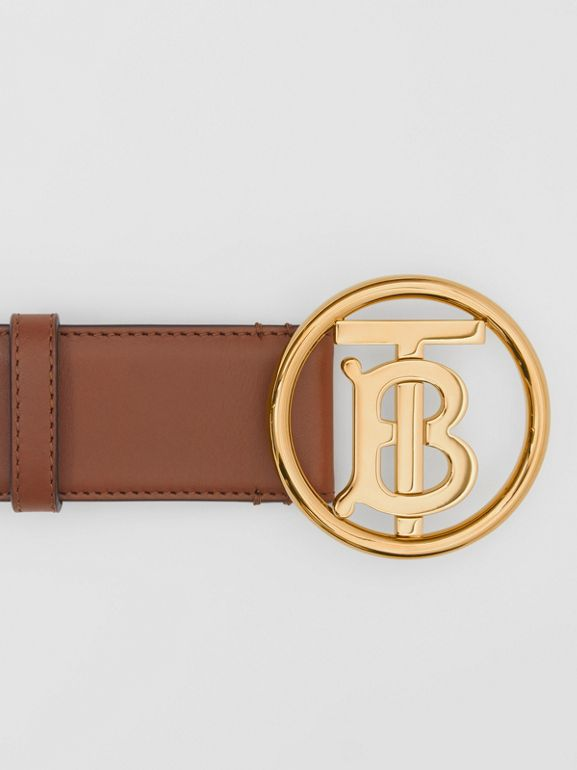 Monogram Motif Leather Belt in Tan/antique Dark Brass - Women | Burberry United Kingdom - cell image 1