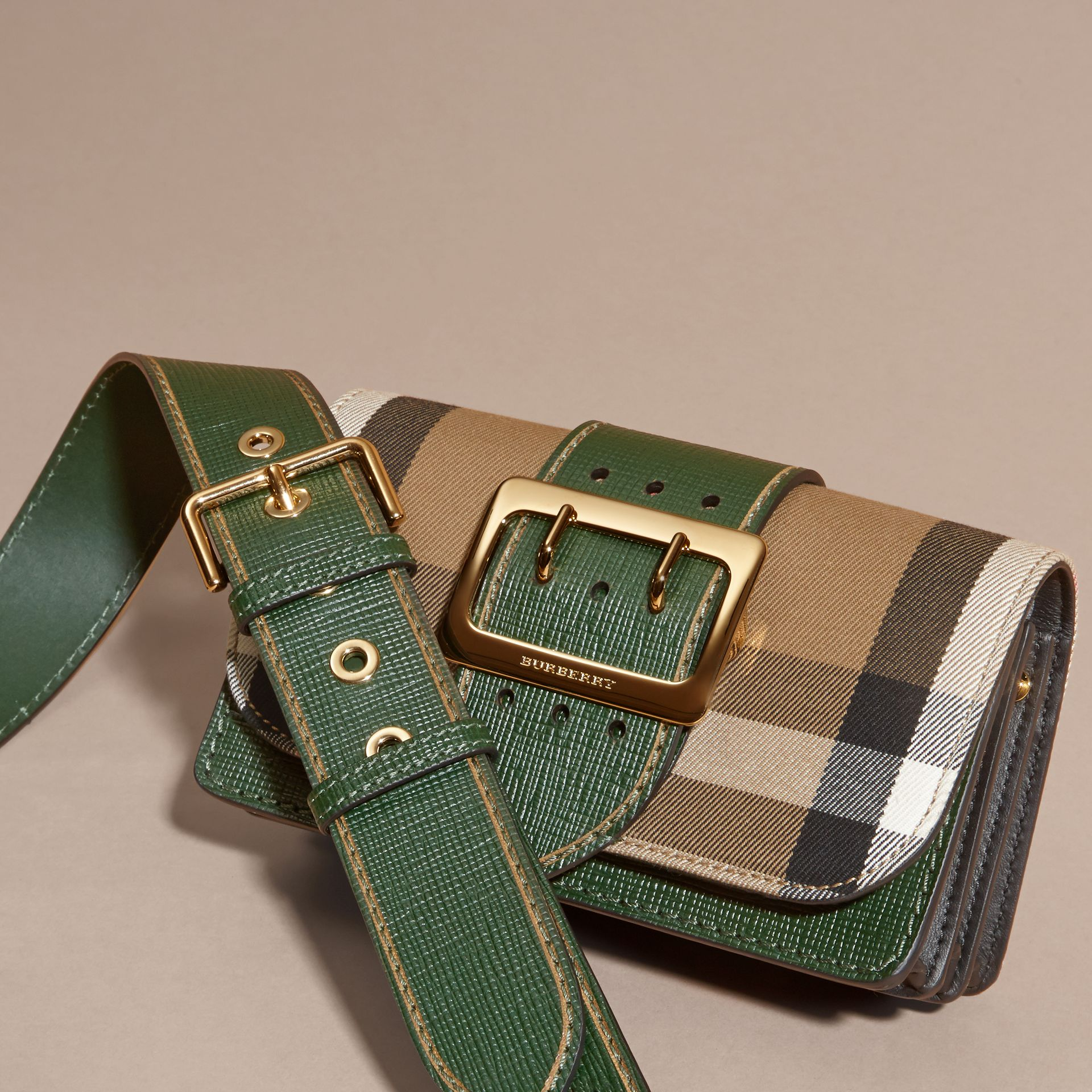 The Small Buckle Bag in House Check and Leather in Kelly Green/kelly Green - Women | Burberry Canada - gallery image 7