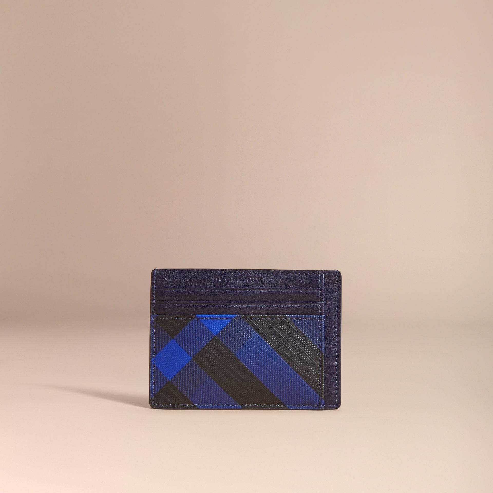 London Check Card Case in Bright Lapis - Men | Burberry - gallery image 5