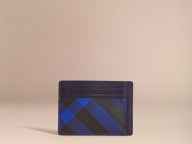 London Check Card Case in Bright Lapis - Men | Burberry - cell image 4