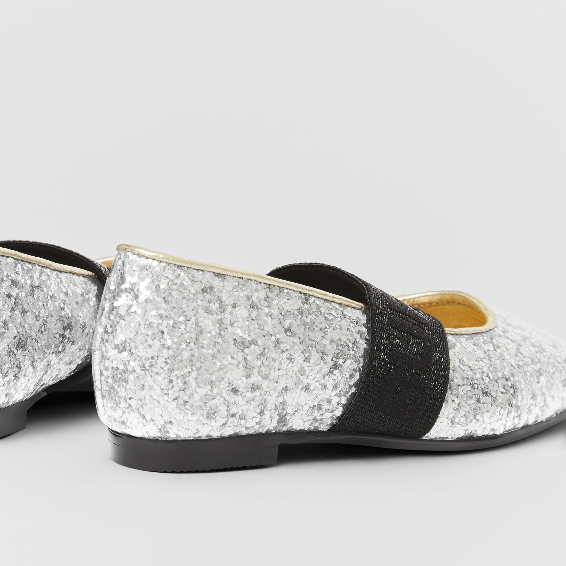 Logo Detail Glittery Flats in Silver - Children | Burberry United Kingdom - gallery image 1