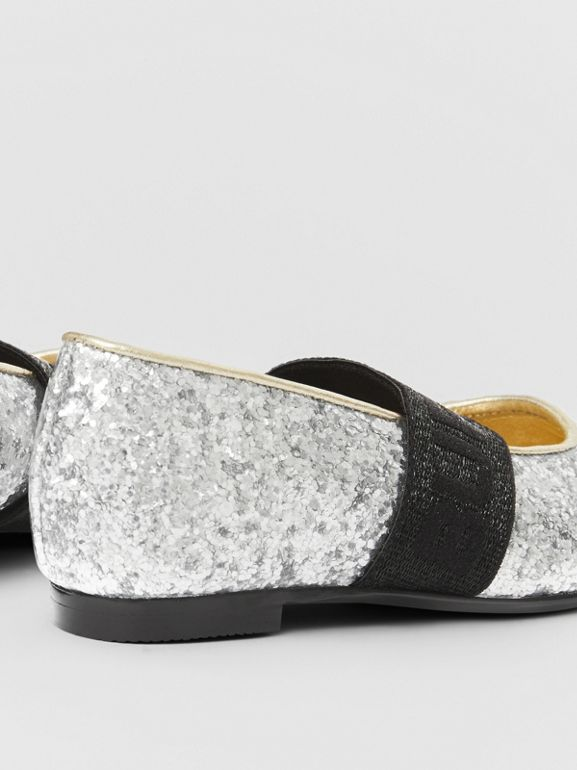 Logo Detail Glittery Flats in Silver - Children | Burberry - cell image 1