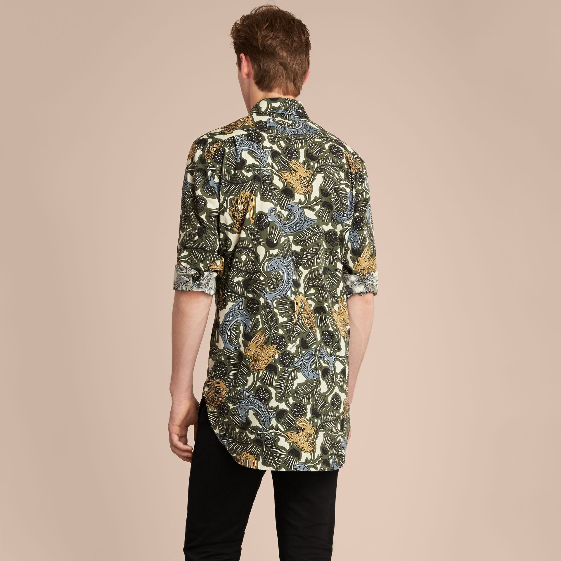 Beasts Print Cotton Poplin Longline Shirt in Sage Green - gallery image 3