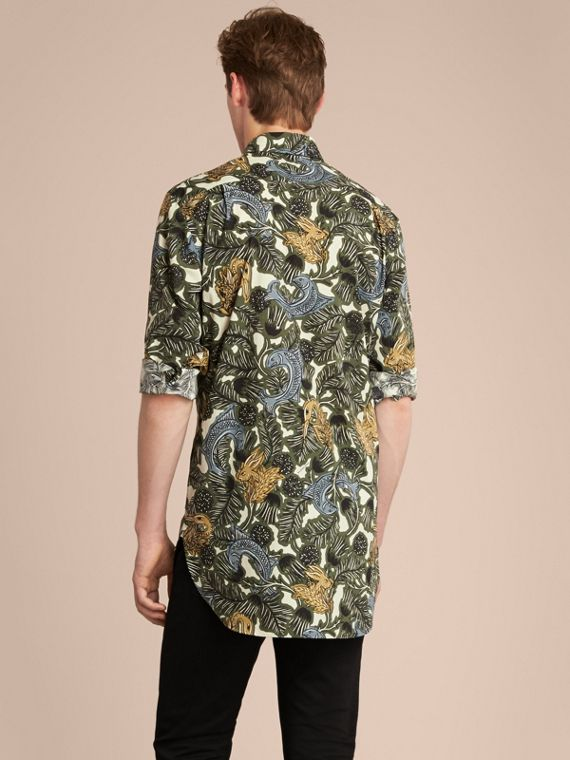 Beasts Print Cotton Poplin Longline Shirt in Sage Green - cell image 2