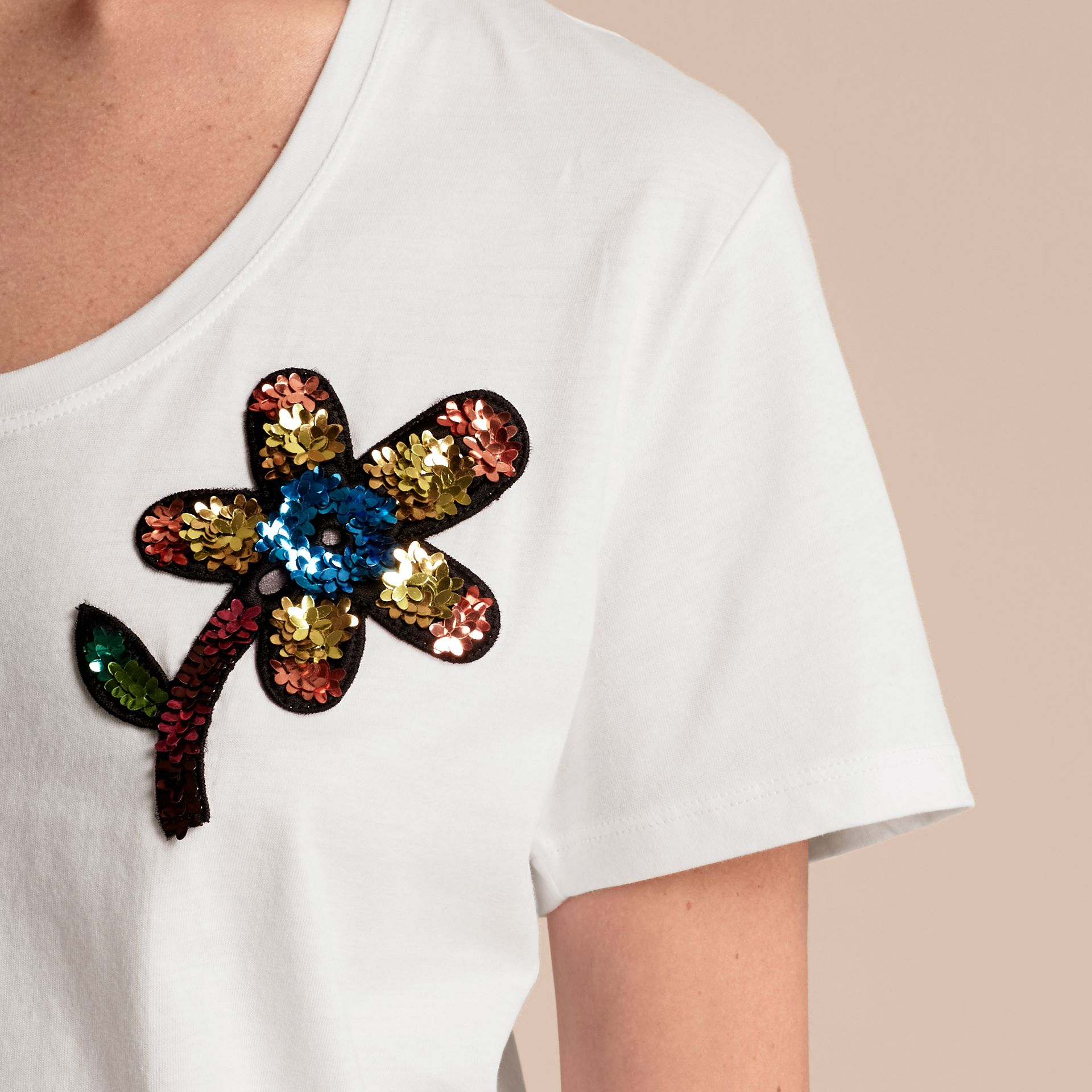 White Sequin Floral Appliqué Cotton T-Shirt White - gallery image 5