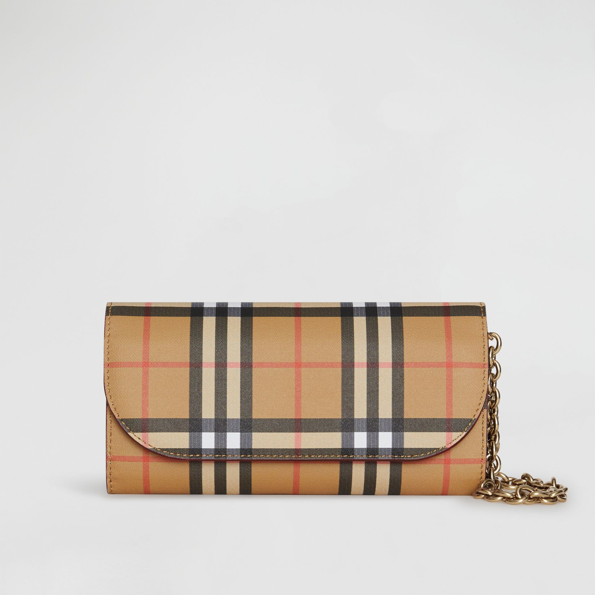 Vintage Check and Leather Wallet with Detachable Strap in Crimson - Women | Burberry - gallery image 0