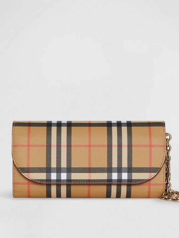 Vintage Check and Leather Wallet with Detachable Strap in Crimson