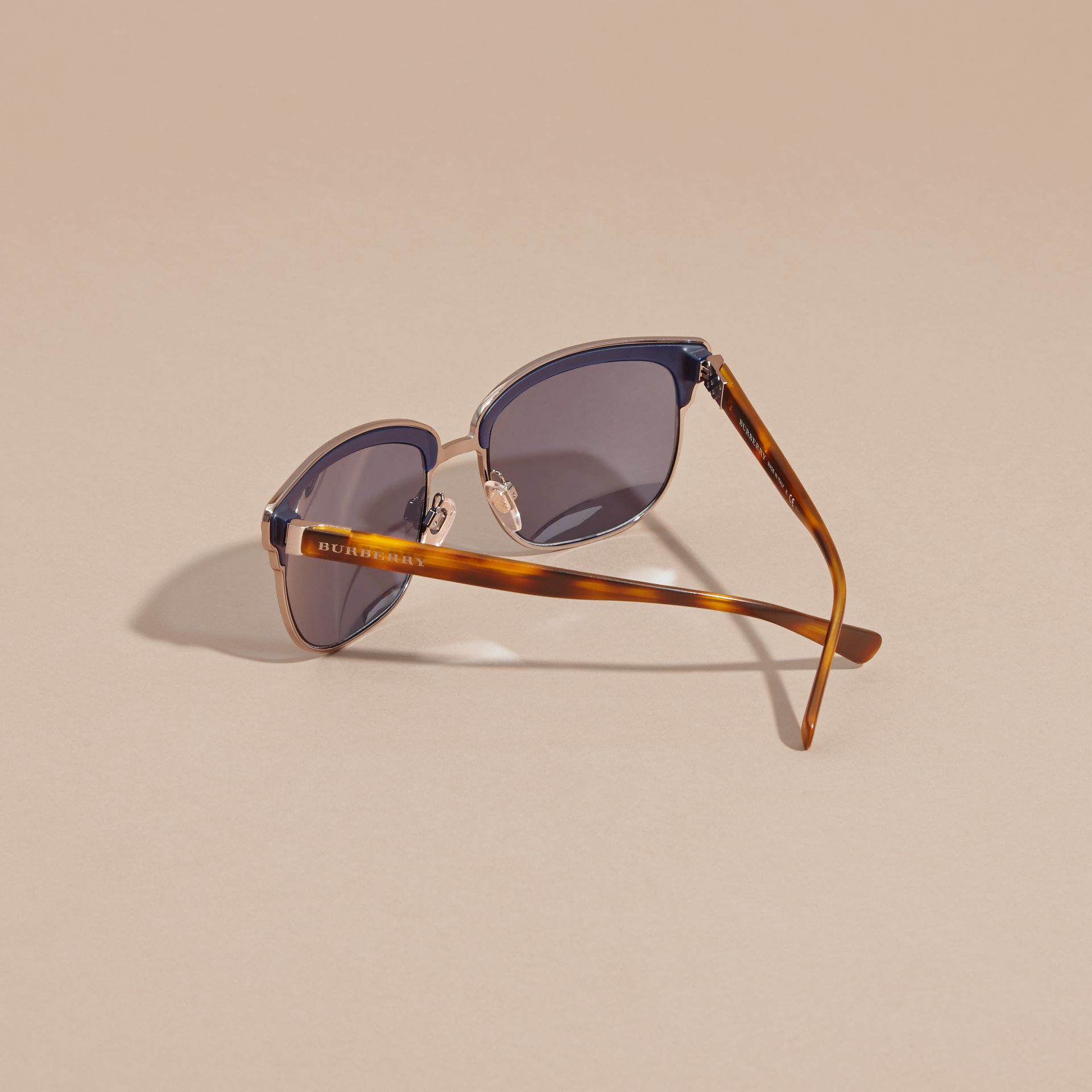 Textured Front Square Frame Sunglasses in Dark Navy - Men | Burberry Singapore - gallery image 3