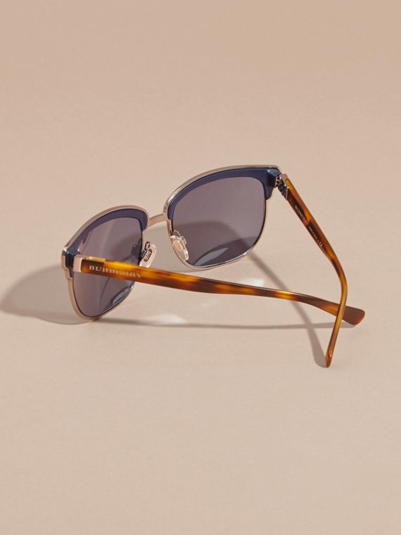 Textured Front Square Frame Sunglasses in Dark Navy - Men | Burberry - cell image 3