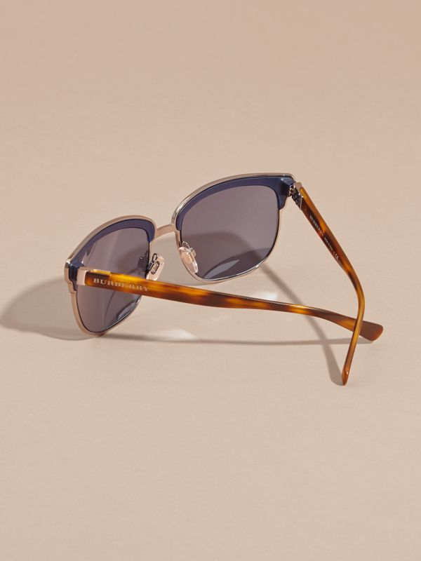 Textured Front Square Frame Sunglasses in Dark Navy - Men | Burberry United States - cell image 3