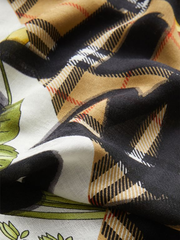 Graffiti Archive Scarf Print Wool Silk Cashmere Scarf in Multicolour | Burberry United Kingdom - cell image 1