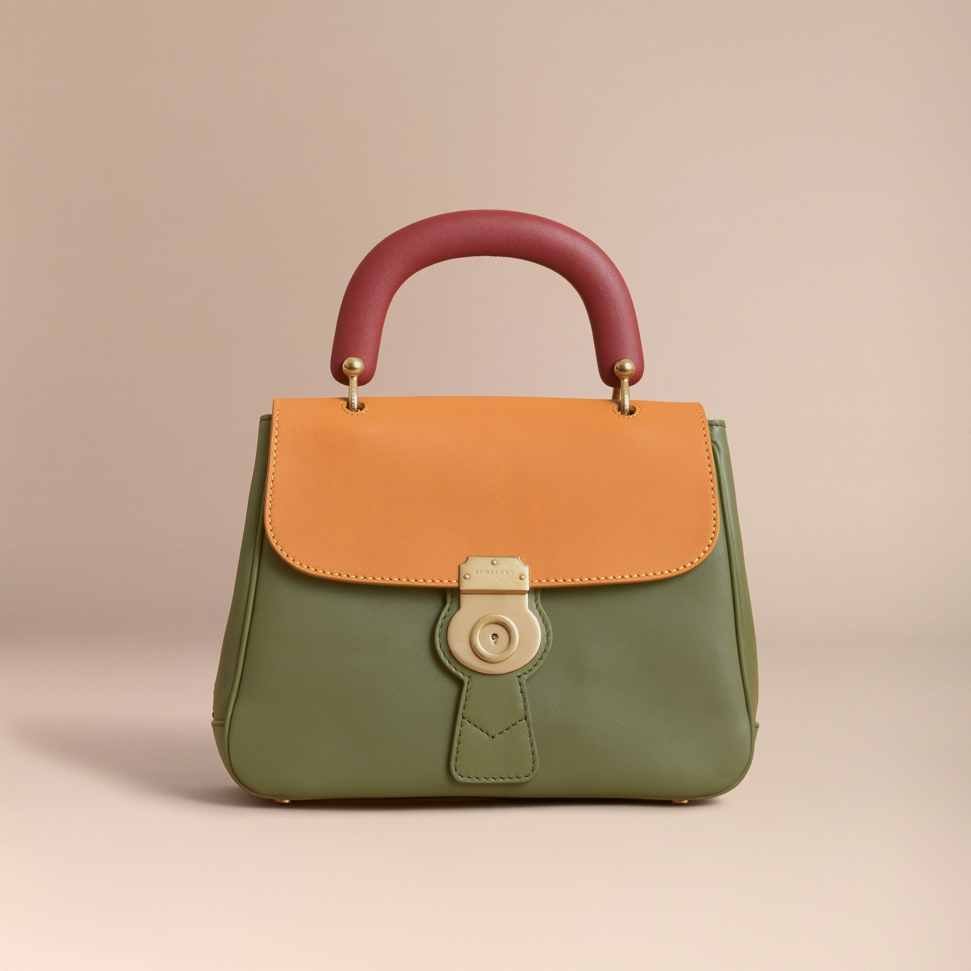 The Medium DK88 Top Handle Bag in Moss Green/ochre Yellow - gallery image 7
