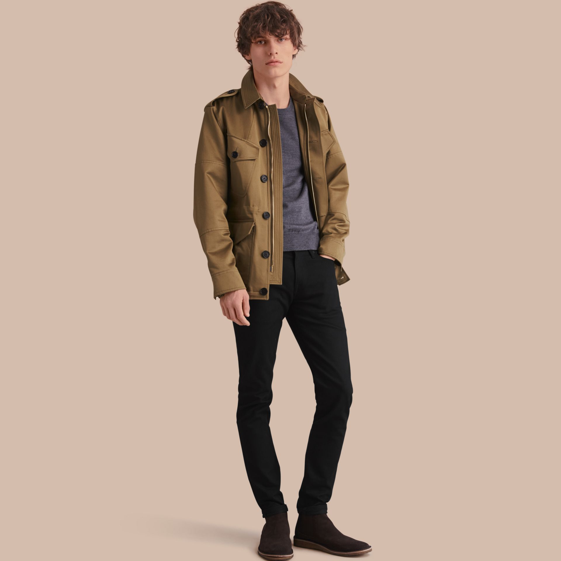 Cotton Field Jacket with Detachable Warmer - gallery image 1