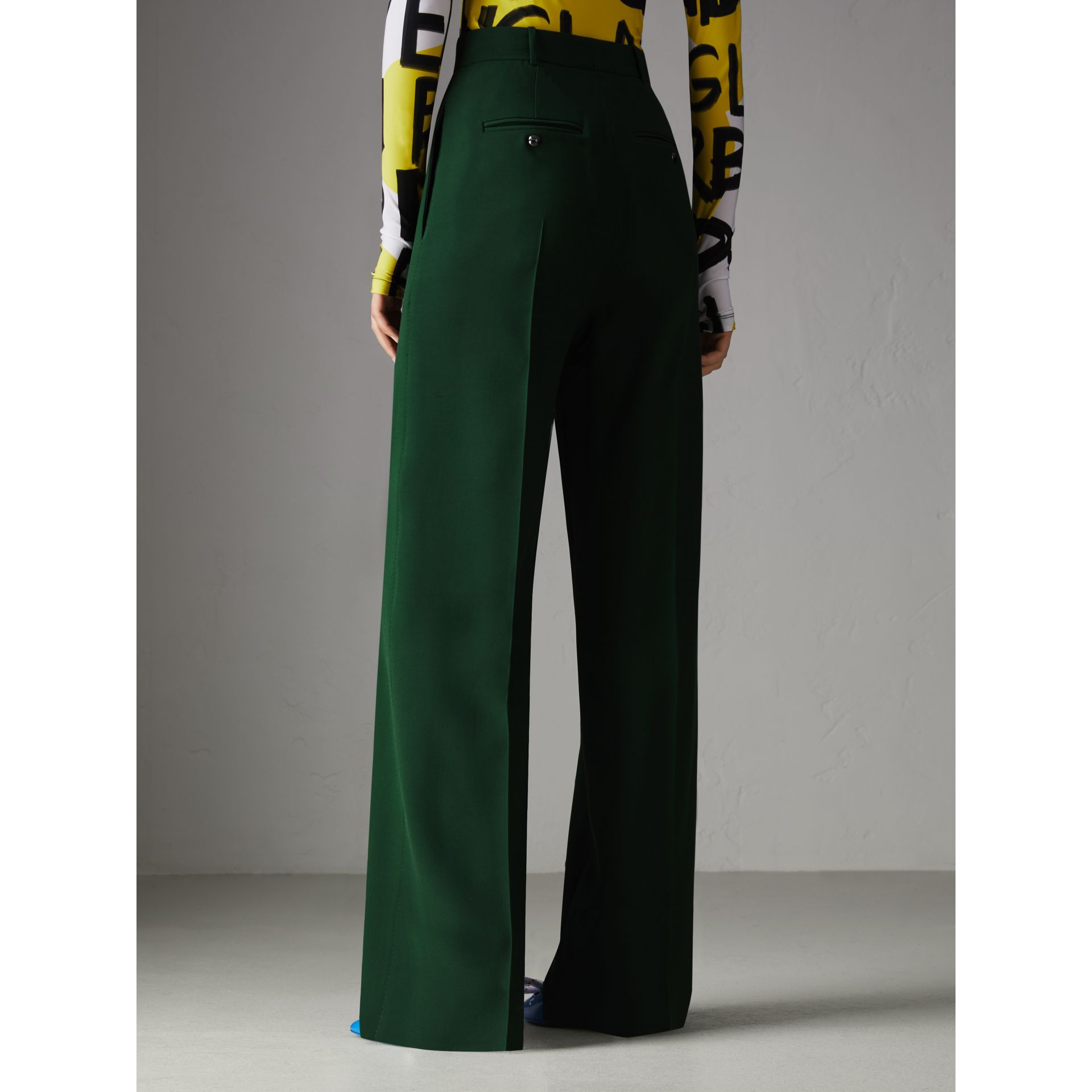 Silk Wool High-waisted Trousers in Dark Forest Green - Women | Burberry Canada - gallery image 2
