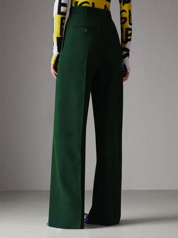 Silk Wool High-waisted Trousers in Dark Forest Green - Women | Burberry United States - cell image 2