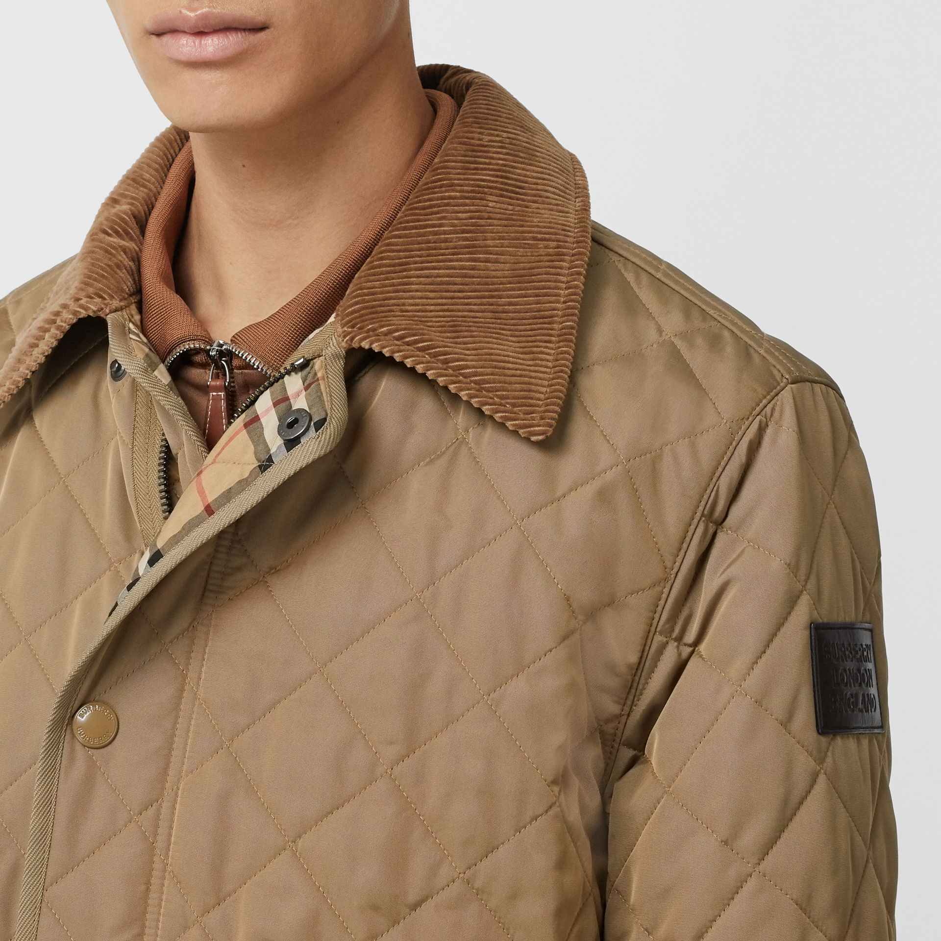 Diamond Quilted Thermoregulated Barn Jacket in Pale Granite - Men | Burberry - gallery image 4