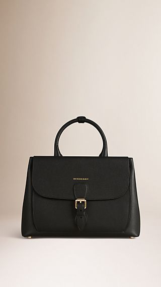 The Medium Saddle Bag in Grainy Leather and Bonded Suede