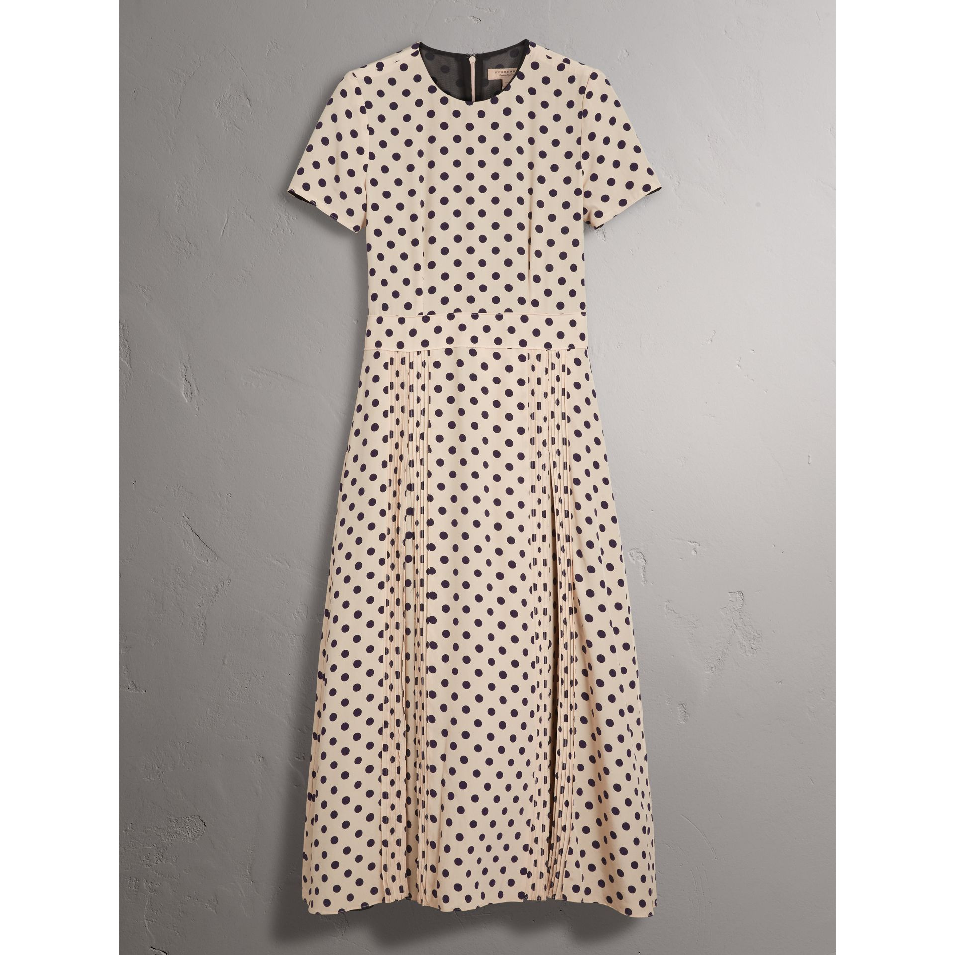 Polka-dot Silk Dress in Navy - Women | Burberry - gallery image 4