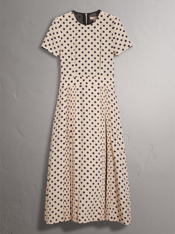 Polka-dot Silk Dress in Navy - Women | Burberry Singapore - cell image 3