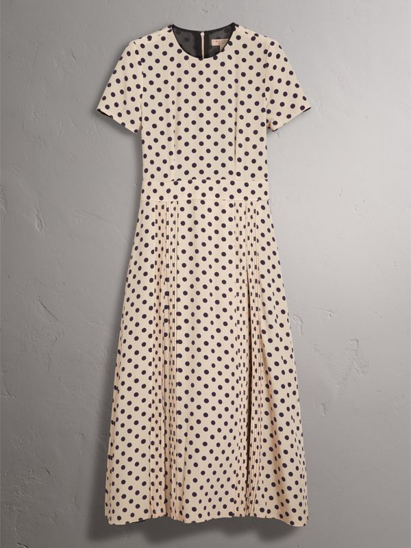 Polka-dot Silk Dress in Navy - Women | Burberry - cell image 3