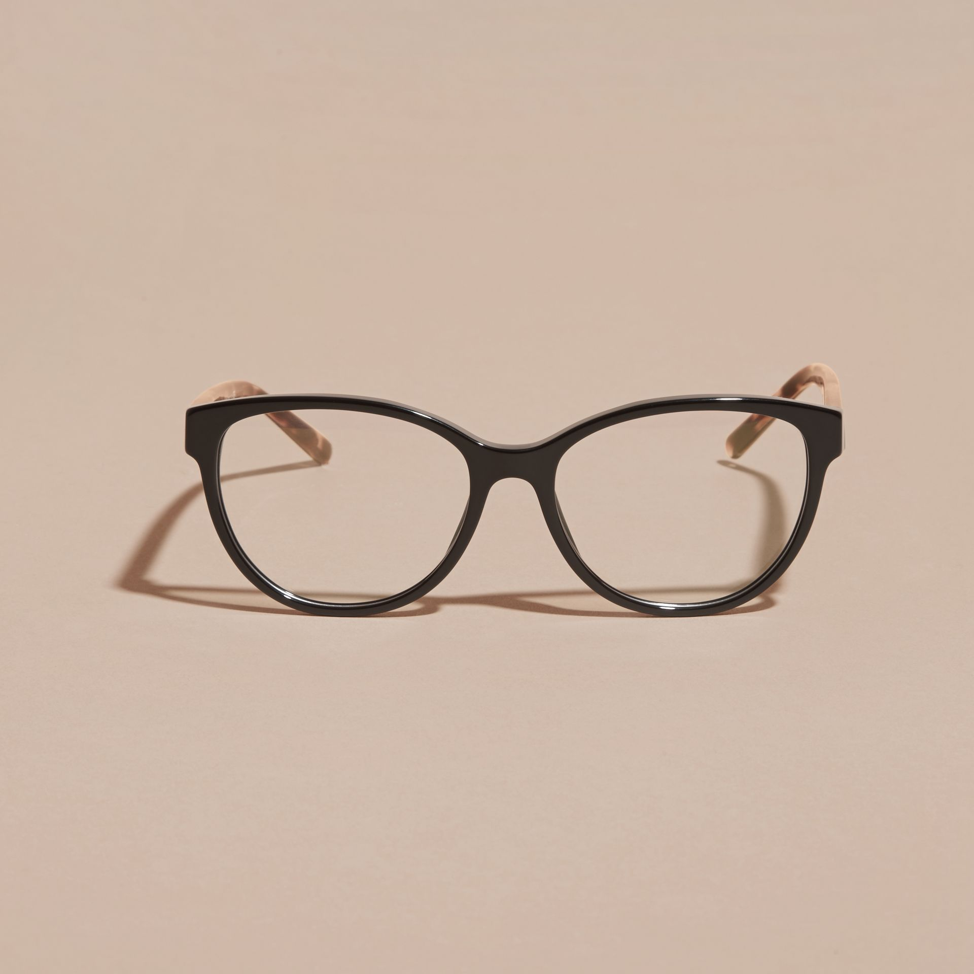 Black Check Detail Round Optical Frames Black - gallery image 3