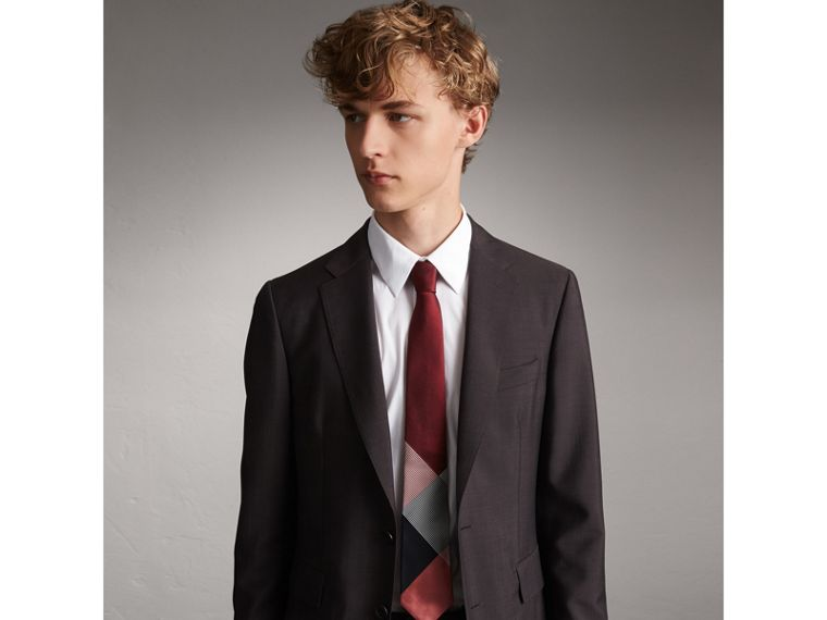Modern Cut Check Silk Twill Jacquard Tie in Coral Red - Men | Burberry - cell image 2