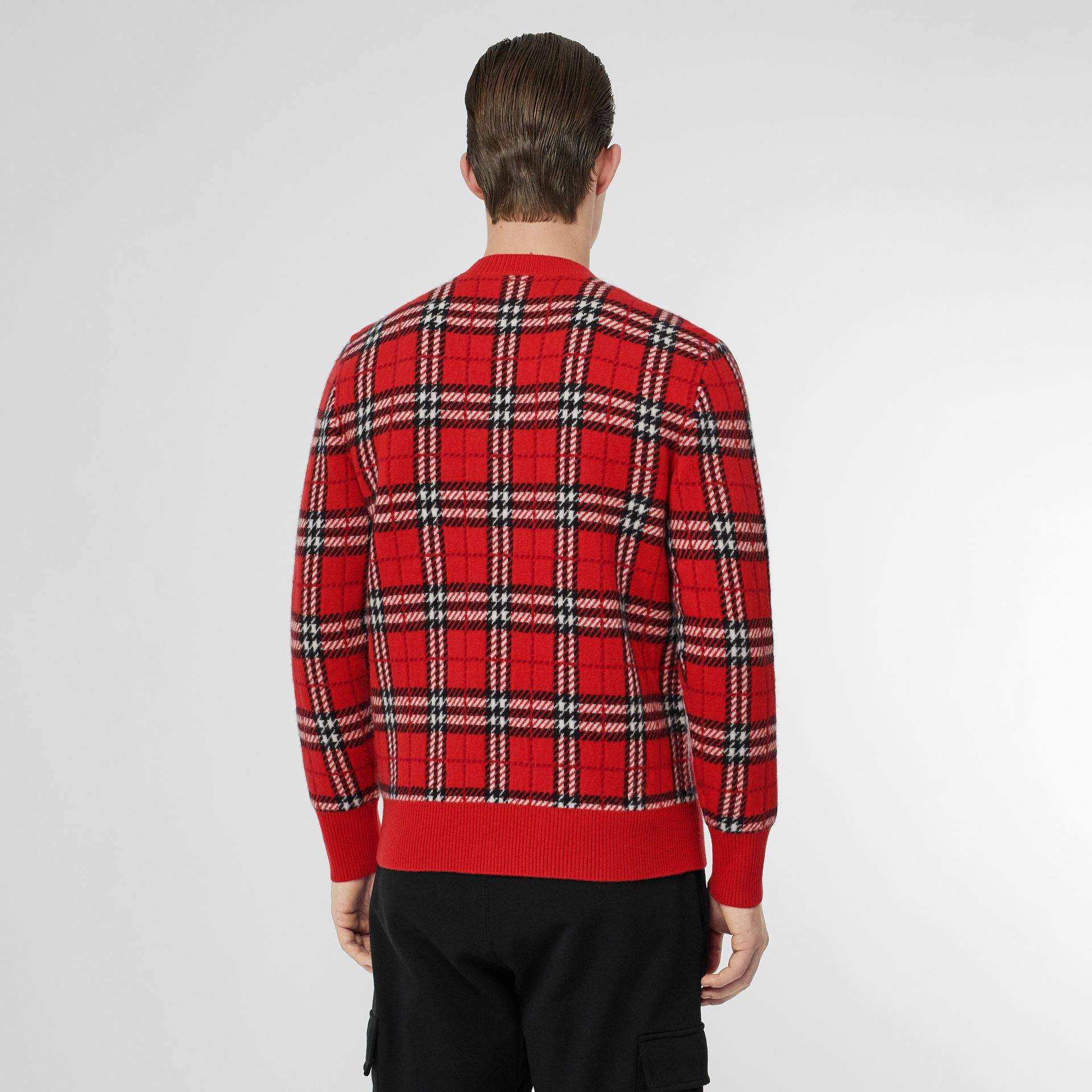 Check Cashmere Jacquard Sweater in Parade Red - Men | Burberry - gallery image 2