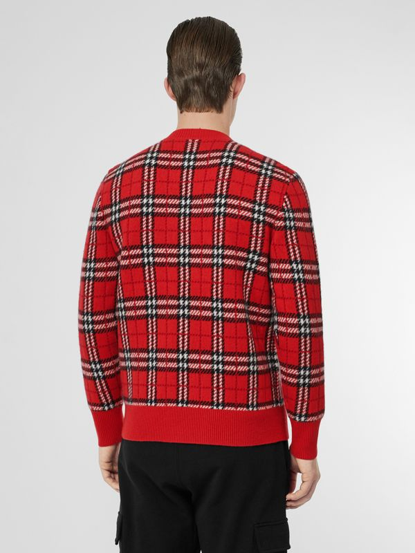 Check Cashmere Jacquard Sweater in Parade Red - Men | Burberry - cell image 2