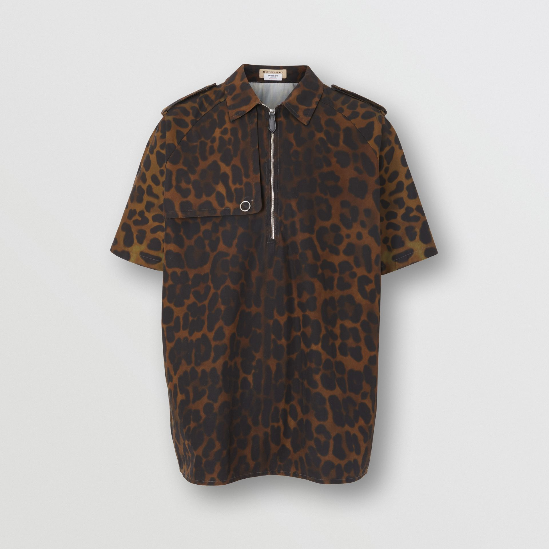 Short-sleeve Leopard Print Cotton Shirt in Khaki Green | Burberry - gallery image 3