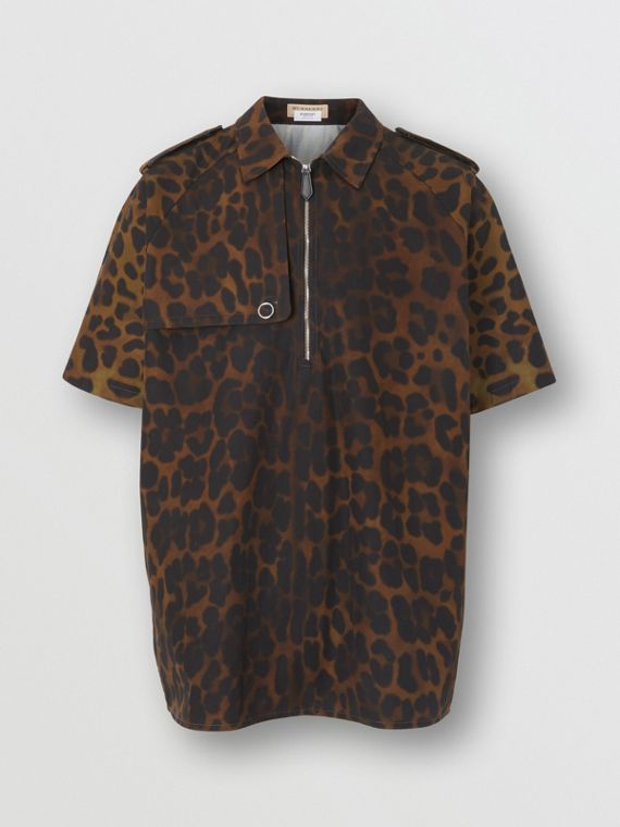 Short-sleeve Leopard Print Cotton Shirt in Khaki Green