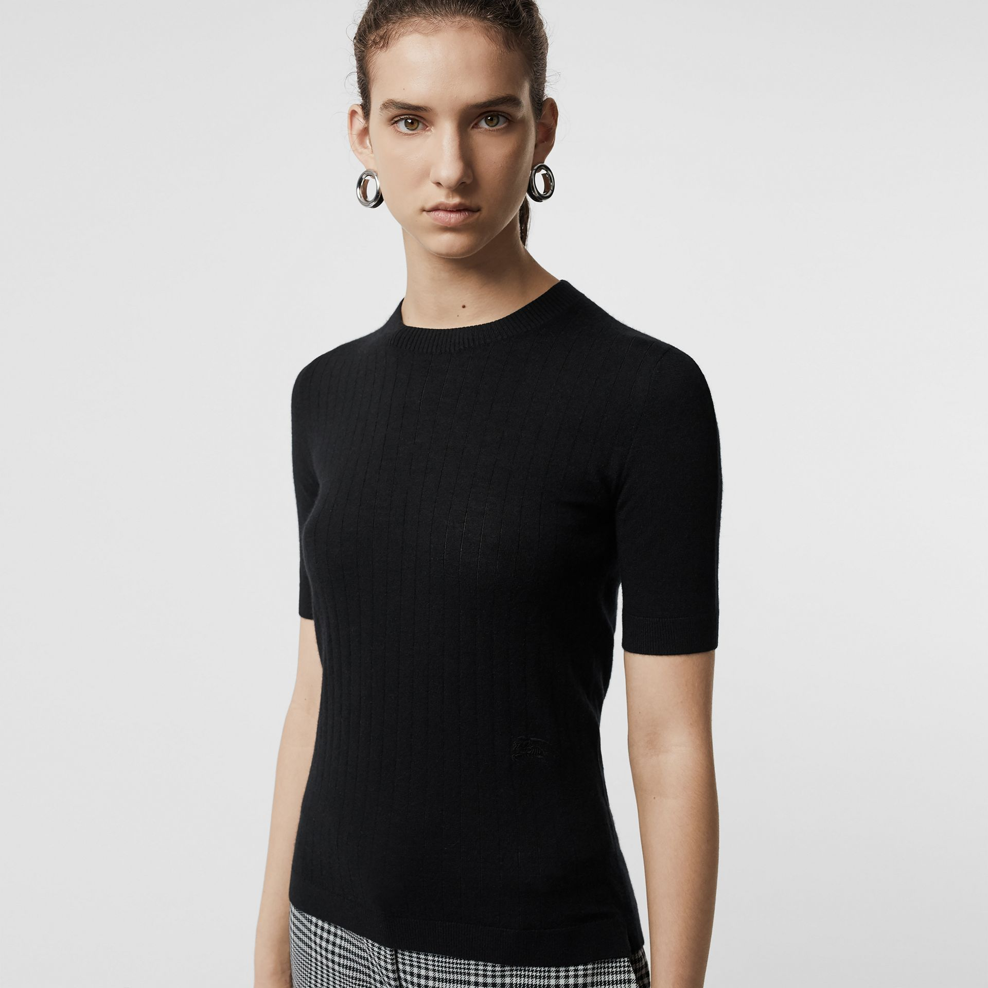 Short-sleeve Rib Knit Cashmere Sweater in Black - Women | Burberry - gallery image 1