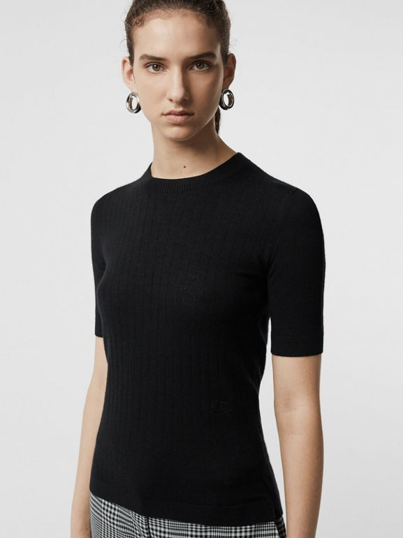Short-sleeve Rib Knit Cashmere Sweater in Black - Women | Burberry Hong Kong - cell image 1