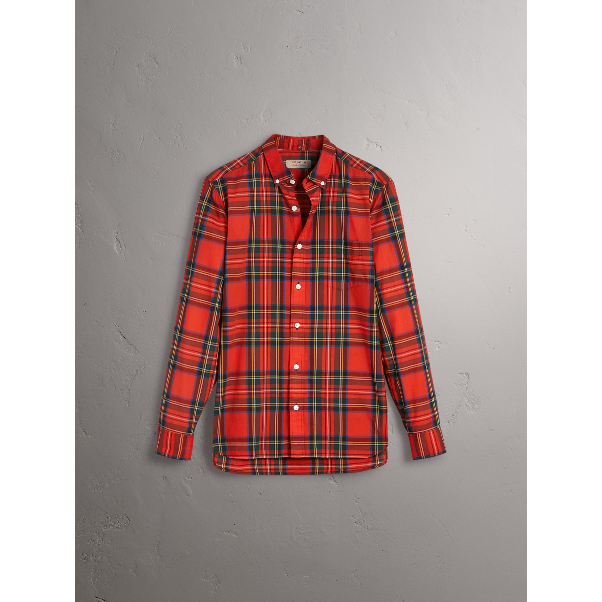 Tartan Cotton Button-down Collar Shirt in Bright Red - Men | Burberry Australia - gallery image 3
