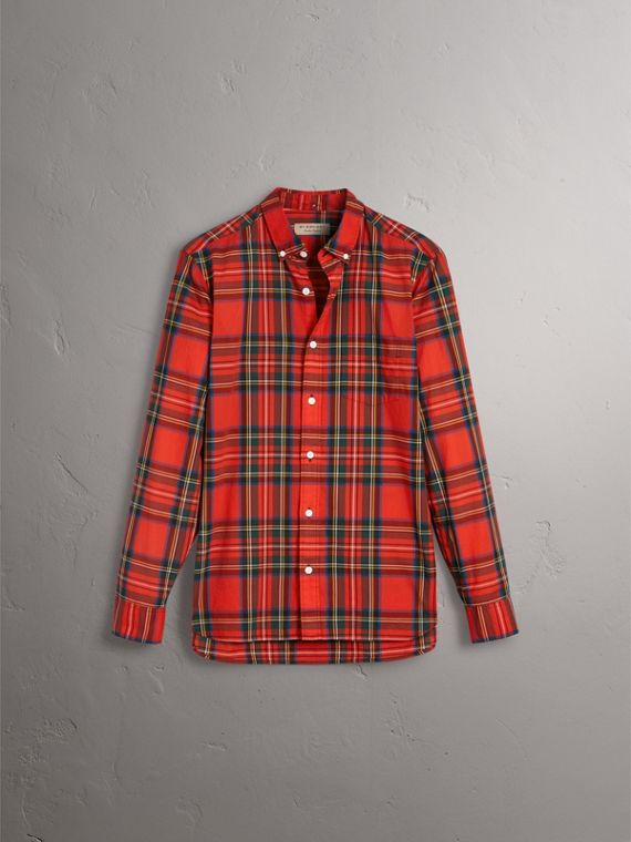 Tartan Cotton Button-down Collar Shirt in Bright Red - Men | Burberry Australia - cell image 3