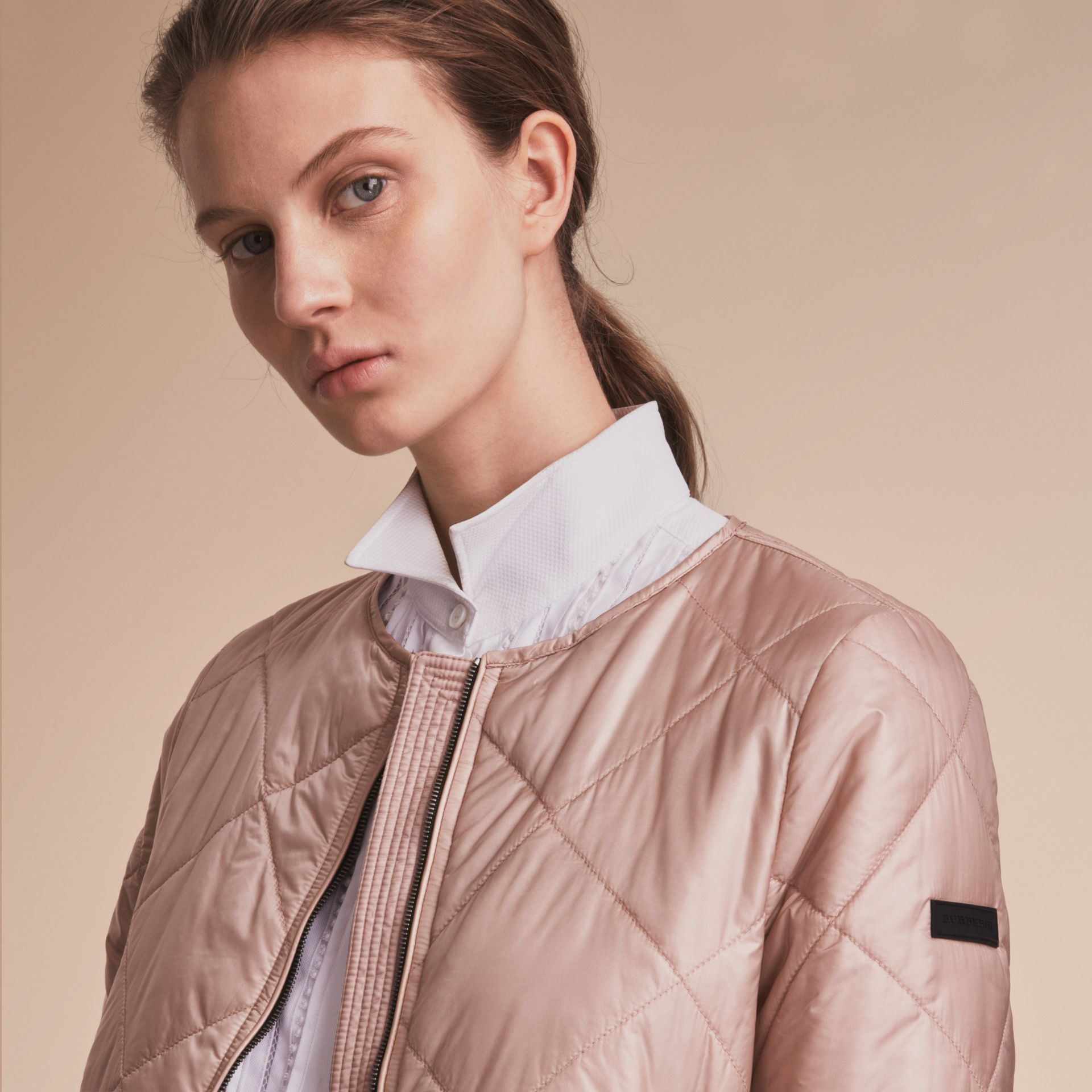 Collarless Diamond Quilted Lightweight Jacket Nude - gallery image 5