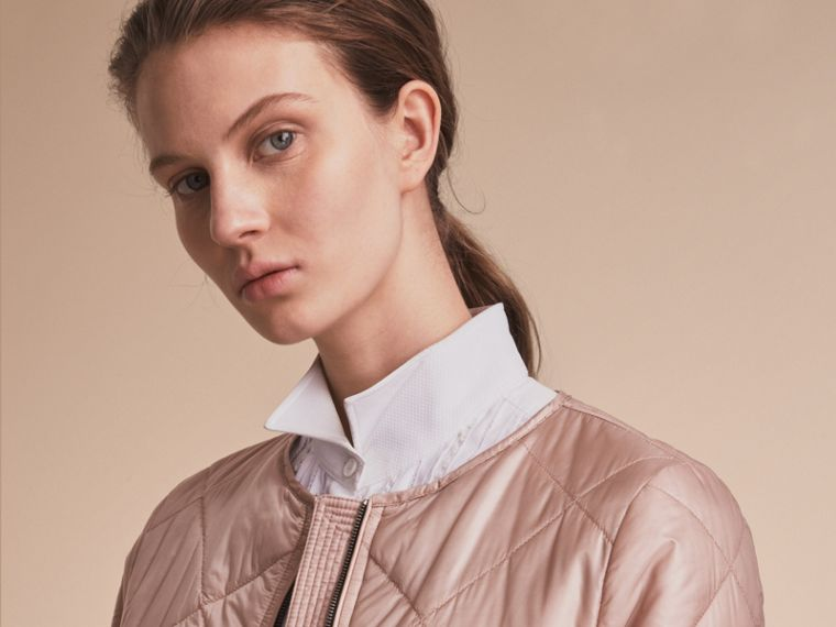 Collarless Diamond Quilted Lightweight Jacket Nude - cell image 4