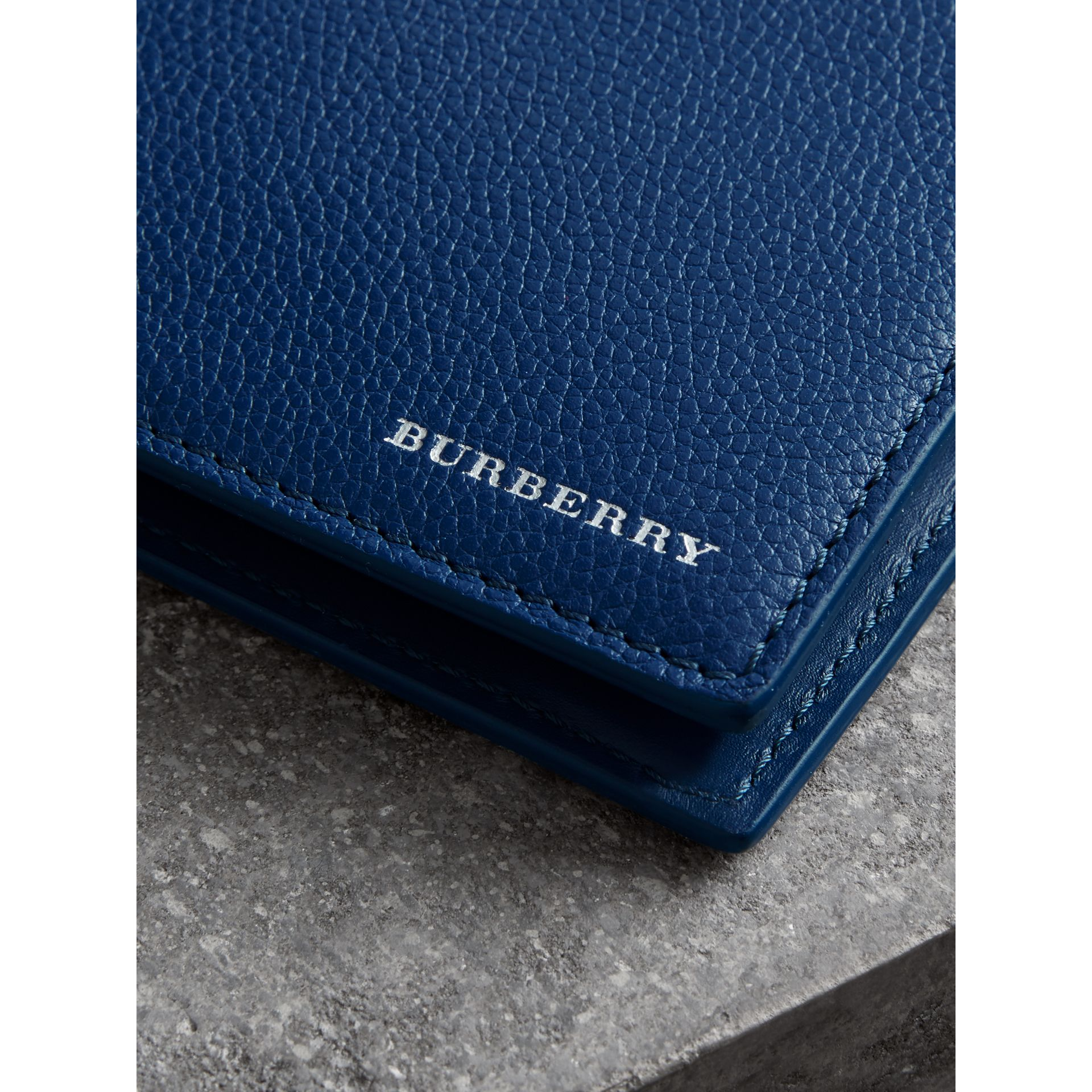 Grainy Leather International Bifold Coin Wallet in Bright Ultramarine - Men | Burberry Singapore - gallery image 1