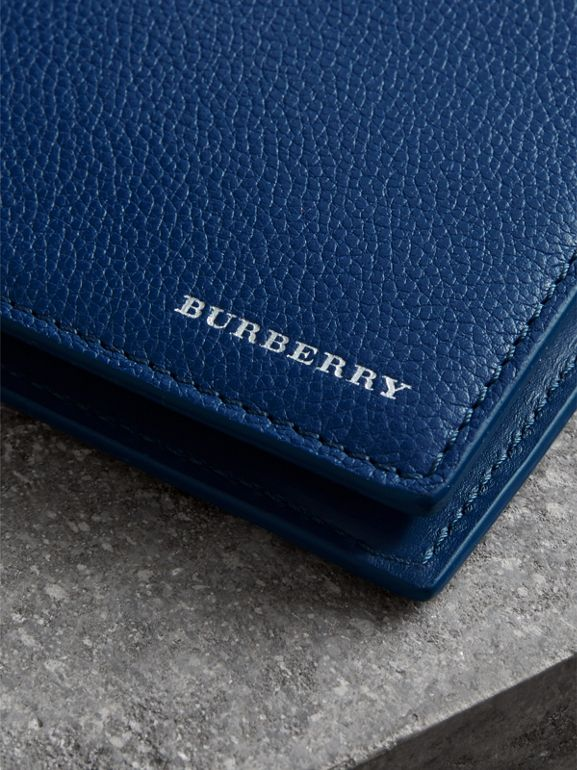 Grainy Leather International Bifold Coin Wallet in Bright Ultramarine - Men | Burberry Singapore - cell image 1