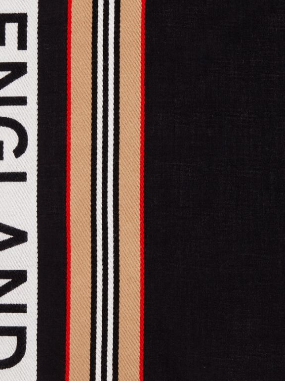 Icon Stripe Logo Detail Cotton Scarf in Black | Burberry - cell image 1